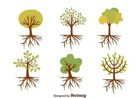 Trevlig träd med rötter vektorer