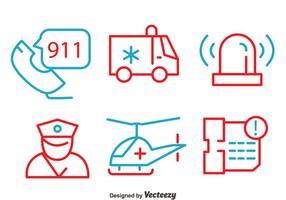 Polícia e dos elementos vetores linha de emergência