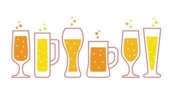 Los vidrios de cerveza Colección de vectores