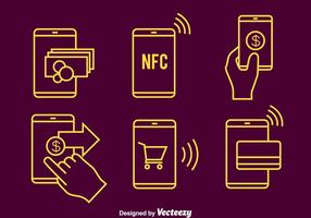 Nfc Payment Line Icons Vector