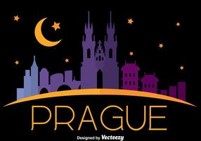 Prague City Skyline In Night Vector