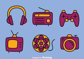 Hand Drawn Multi Media Icons Vectors