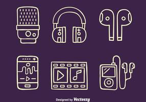 Hand Drawn Music Player Element Vectors