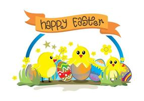 Easter chick cute background vector