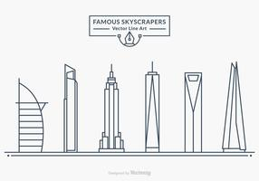 Famous Skyscrapers Vector Line Art