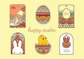 Easter Gift Tag tecknad Gratis Vector