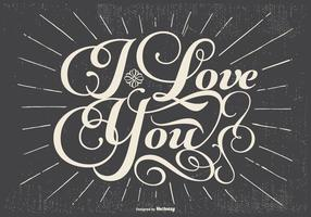 Rétro amour Illustration Typographic