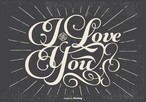 Retro Typographic Love Illustration