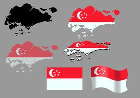 Singapore Map And Flag Vectors