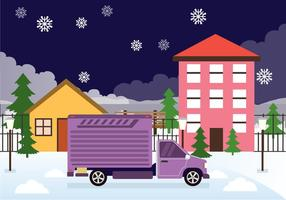 Moving Day in the Snow Vector Background