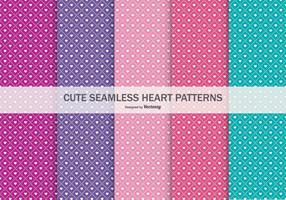 Cute Seamless Heart Patterns Collection vector