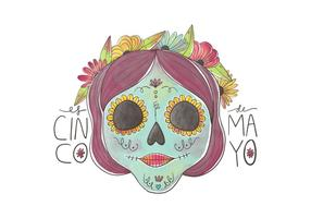 Sweet-skull-with-colorful-flowers-for-cinco-de-mayo