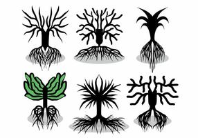 Träd med rötter vektor uppsättning