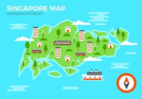 Free Flat SIngapore Map Vector