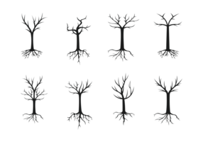 Baum mit Wurzeln Silhouette Vektor