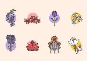 Vectores planos de flores de primavera