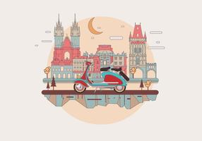 Vintage Lambretta i en europeisk stad Vector