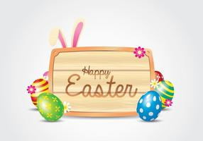 Easter Wooden Sign Background vector