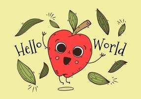 Cute Apple Character Jumping With Leaves With Happy quote vector