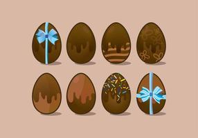Chocolate ovos da páscoa ícone do vetor Variantes