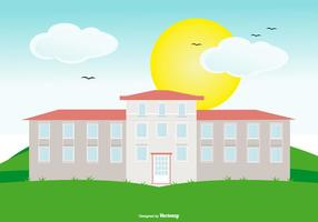 Colonial House on Landscape vector