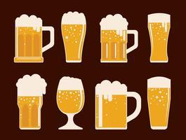 Cerveja conjunto de iconos vectoriales