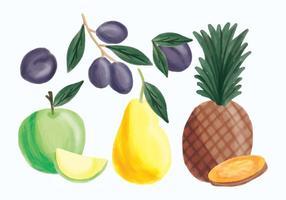 Vector dibujado mano de piña, manzana, pera y ciruelas