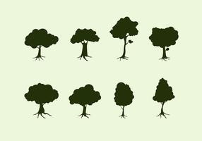 Silhouette Tree With Roots Free Vector