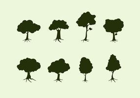 Silhouet van de boom met wortels Gratis Vector