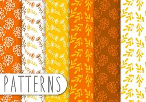 Orange-floral-pattern-set