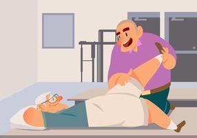 Viejo hombre con el fisioterapeuta del vector