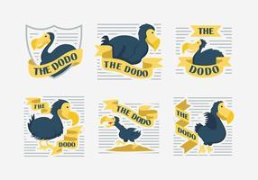 Dodo Carácter etiqueta ilustración vectorial