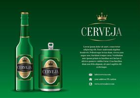 Cerveja Green Bottle and Can Vector