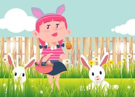 Background Kid Easter Egg Hunt Vector