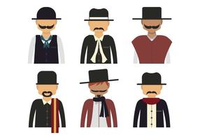 Gaucho character half body vector set