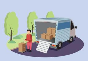 Free Moving Van With Man Holding A Box Illustration