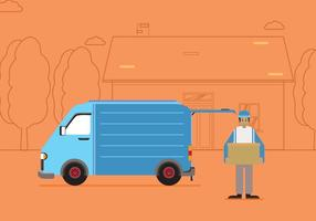 Free Moving Van With Line Silhouette House And Tree Illustration vector