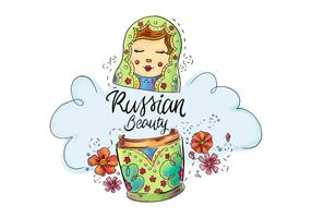 Cute Matryoshka Russia Cultural Toy vector