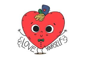Cute Heart Kid Character With Hat And Happy Quote vector
