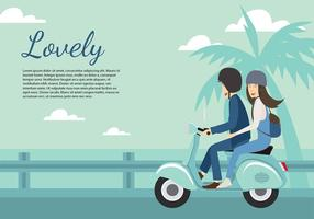 Scooter Couple Beach Free Vector