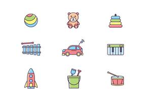 Colorful Toys Icons vector