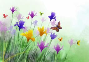 Watercolor Wildflower Iris Flower Vector Background