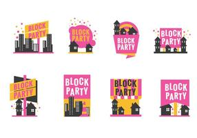Set Block Party Label or Poster with Minimalist Style