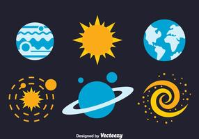 Space Element Flat Icons Vectors