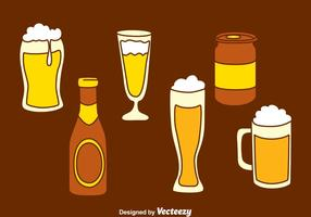 Vector dibujado mano del vidrio de cerveza