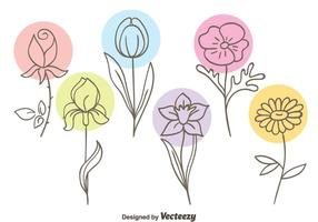 Vacker Sketch Flowers Collection Vector