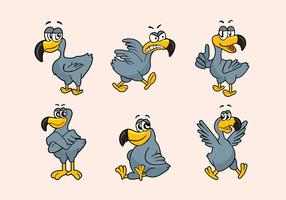 Dodo-Cartoon-Figur Pose Vektor-Illustration