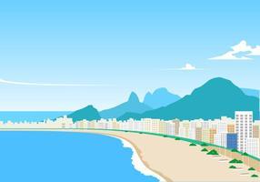 Landschap Van Copacabana Gratis Vector