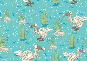 Dodo Bird Cartoon Character Seamless Pattern with Memphis Design Style