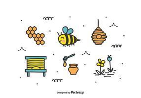 Doodle abeja conjunto de vectores